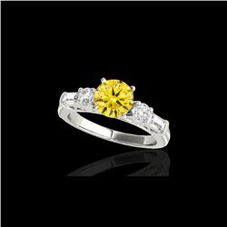 2 ctw Certified SI/I Fancy Intense Yellow Diamond Pave Ring 10K White Gold