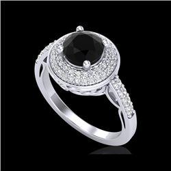 1.7 ctw Fancy Black Diamond Engagement Art Deco Ring 18K White Gold