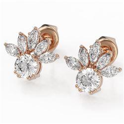 1.75 ctw Diamond Designer Earrings 18K Rose Gold