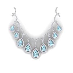 32.62 ctw Sky Topaz & VS Diamond Necklace 18K White Gold