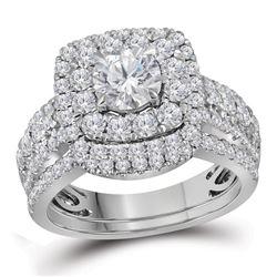 14kt White Gold Round Diamond Halo Bridal Wedding Engagement Ring Band Set 2-1/2 Cttw