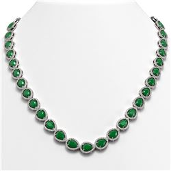 45.93 ctw Emerald & Diamond Micro Pave Halo Necklace 10K White Gold