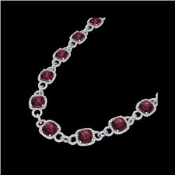 66 ctw Garnet & Micro VS/SI Diamond Eternity Necklace 14K White Gold