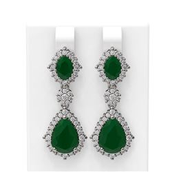 11.26 ctw Emerald & Diamond Earrings 18K White Gold