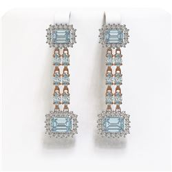 11.04 ctw Sky Topaz & Diamond Earrings 14K Rose Gold