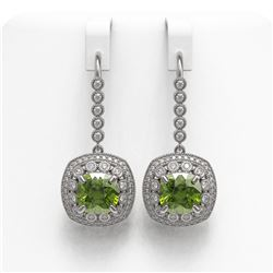 14.1 ctw Tourmaline & Diamond Victorian Earrings 14K White Gold