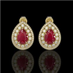 9.74 ctw Certified Ruby & Diamond Victorian Earrings 14K Yellow Gold