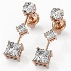 1.85 ctw Princess Cut Diamond Designer Earrings 18K Rose Gold