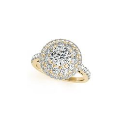 1.5 ctw Certified VS/SI Diamond Halo Ring 18K Yellow Gold