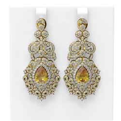 12.02 ctw Canary Citrine & Diamond Earrings 18K Yellow Gold