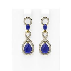 9.85 ctw Sapphire & Diamond Earrings 18K Yellow Gold