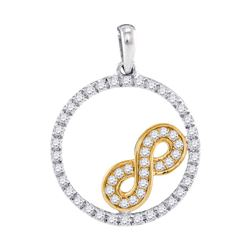 10kt Two-tone Gold Round Diamond Infinity Circle Pendant 1/4 Cttw