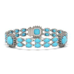 30.85 ctw Turquoise & Diamond Bracelet 14K White Gold