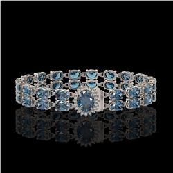 17.78 ctw London Topaz & Diamond Bracelet 14K White Gold