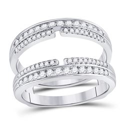 14kt White Gold Round Diamond Wrap Ring Guard Enhancer 1/2 Cttw