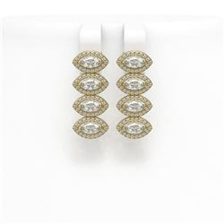 4.52 ctw Marquise Cut Diamond Micro Pave Earrings 18K Yellow Gold