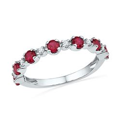 10kt White Gold Round Lab-Created Ruby Band Ring 1.00 Cttw
