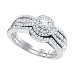 10kt White Gold Round Diamond Strand Bridal Wedding Engagement Ring Band Set 1/2 Cttw
