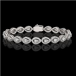 7.29 ctw Pear Cut Diamond Micro Pave Bracelet 18K White Gold