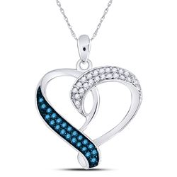 Sterling Silver Round Blue Color Enhanced Diamond Heart Pendant 1/5 Cttw