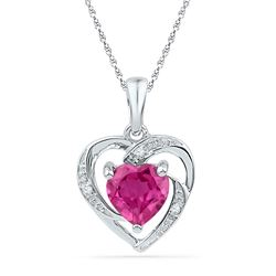 10kt White Gold Round Lab-Created Ruby Heart Pendant 1.00 Cttw