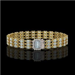 21.86 ctw Aquamarine & Diamond Bracelet 14K Yellow Gold