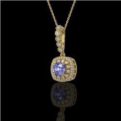 2.6 ctw Tanzanite & Diamond Victorian Necklace 14K Yellow Gold