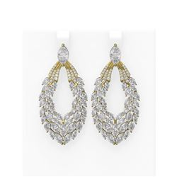 15.23 ctw Diamond Earrings 18K Yellow Gold