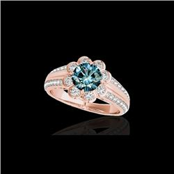 2.05 2.05 ctw SI Certified Fancy Blue Diamond Halo Ring 10K Rose Gold