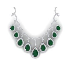 31.5 ctw Emerald & VS Diamond Necklace 18K White Gold