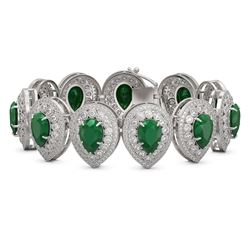 56.04 ctw Emerald & Diamond Victorian Bracelet 14K White Gold