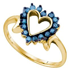 10kt Yellow Gold Round Blue Color Enhanced Diamond Heart Ring 1/4 Cttw