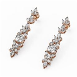 7.18 ctw Cushion Cut Diamond Designer Earrings 18K Rose Gold
