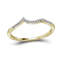 14kt Yellow Gold Round Diamond Contoured Enhancer Wedding Band 1/12 Cttw