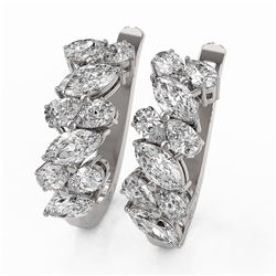 3.84 ctw Marquise and Pear Cut Diamond Earrings 18K White Gold