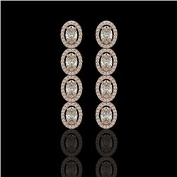 5.33 ctw Oval Cut Diamond Micro Pave Earrings 18K Rose Gold
