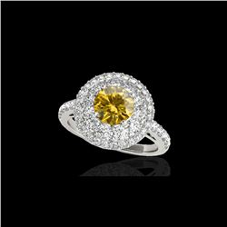 2.09 ctw Certified SI/I Fancy Intense Yellow Diamond Ring 10K White Gold