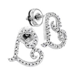 10kt White Gold Round Diamond Heart Earrings 1/6 Cttw