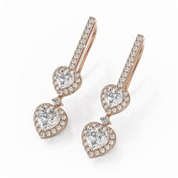 2.5 ctw Heart Diamond Designer Earrings 18K Rose Gold
