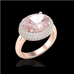 4.50 ctw Morganite & Micro Pave VS/SI Diamond Ring 14K Rose Gold