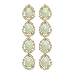 9.12 ctw Opal & Diamond Micro Pave Halo Earrings 10K Yellow Gold