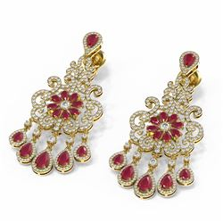 30.29 ctw Ruby & Diamond Earrings 18K Yellow Gold