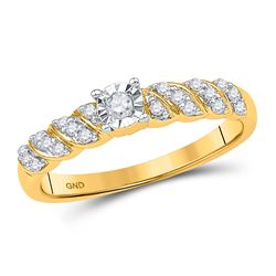 10kt Yellow Gold Round Diamond Solitaire Promise Bridal Ring 1/5 Cttw