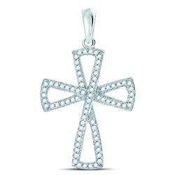 10kt White Gold Round Diamond Flared Cross Faith Pendant 1/3 Cttw