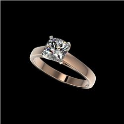 1.25 ctw Certified VS/SI Quality Cushion Cut Diamond Ring 10K Rose Gold