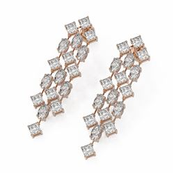 8.62 ctw Princess Cut Diamonds Earrings 18K Rose Gold