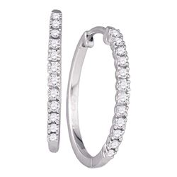 10kt White Gold Round Diamond Slender Single Row Hoop Earrings 1/4 Cttw