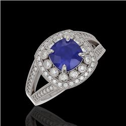 2.69 ctw Certified Sapphire & Diamond Victorian Ring 14K White Gold