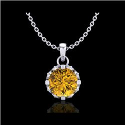 0.85 ctw Intense Fancy Yellow Diamond Art Deco Necklace 18K White Gold