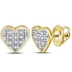 10kt Yellow Gold Round Diamond Heart Cluster Stud Earrings 1/20 Cttw
